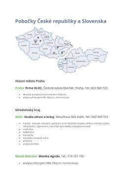 Pobočky České republiky a Slovenska