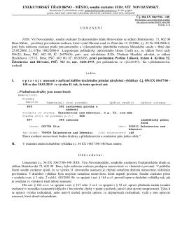 usnesení o opravě - správné označení dražených nemovitostí, č.j. 56