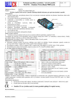 Technická specifikace a návod k použití – formát PDF