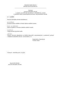 Usnesení starosty 2/2015