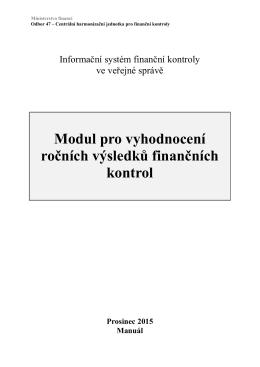 Modul pro vyhodnocení RZ - Ministerstvo financí ČR