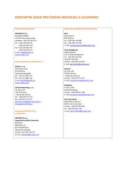 kontaktní údaje pro českou republiku a slovensko