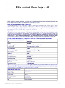 PIC a ověřené úřední údaje o UK