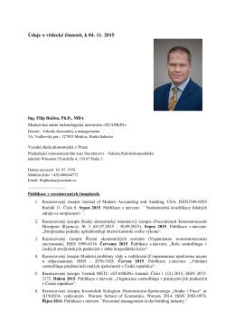 Údaje o vědecké činnosti, k 04. 11. 2015