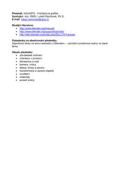 Předmět: KAG/KPG - Počítačová grafika Vyučující: doc. RNDr. Lukáš