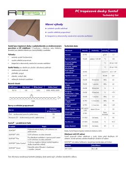 PC trapézové desky Suntuf - technický list