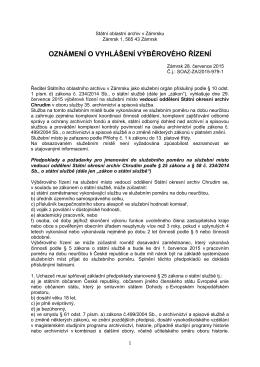 Oznámení o vyhlášení výběrového řízení na vedoucího oddělení