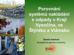 Porovnání systémů nakládání s odpady v Kraji