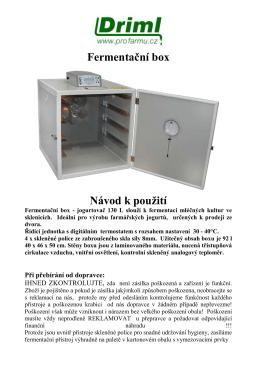 Fermentační box Návod k použití