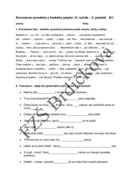 Srovnávací prověrka z českého jazyka / 9. ročník – 2. pololetí A1/