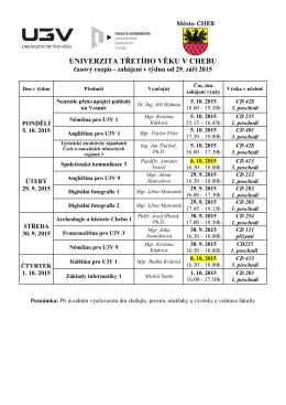 časový rozpis (rozvrh) kurzů v ZS 2015-2016