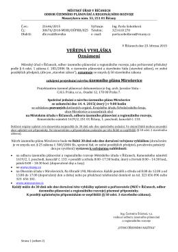oznámení o zahájení projednávání návrhu ÚP 14.4.2015