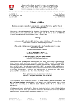 Veřejná vyhláška oznámení o veřejném projednání návrhu