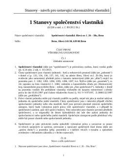 Stanovy - návrh pro ustavující shromáždění vlastníků