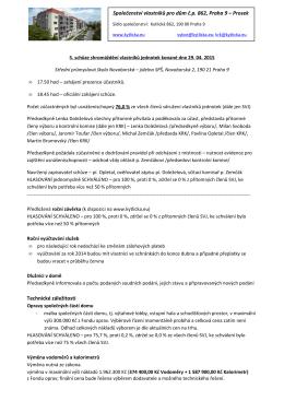 Zápis 5. schůze shromáždění vlastníků jednotek