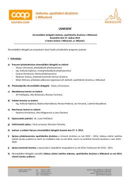 Usnesení shromáždění delegátů