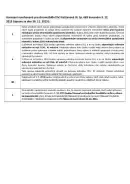 Usnesení navrhovaná pro shromáždění SVJ Kaštanová III. čp. 683