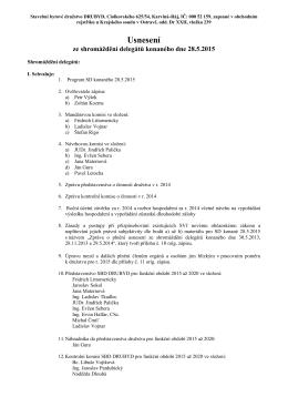 Usnesení ze shromáždění delegátů 28.5.2015