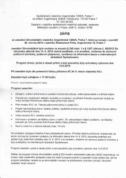 Zápis ze schůze SVJ 29.6.2015