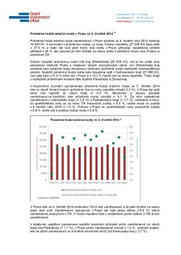 Průměrné hrubé měsíční mzdy v Praze ve 4. čtvrtletí 2014 Průměrná