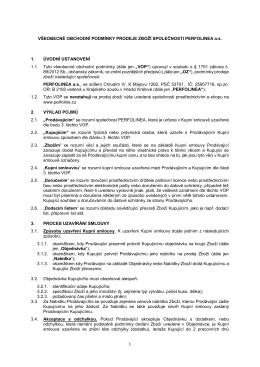 Všeobecné obchodní podmínky PERFO LINEA a. s.
