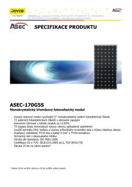 SPECIFIKACE PRODUKTU ASEC-170G5S