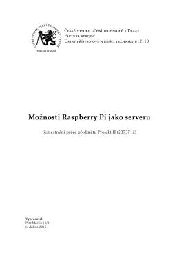 Možnosti Raspberry Pi jako serveru