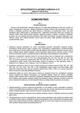 Domovní řád 2015_návrh - Společenství vlastníků Haškova 5
