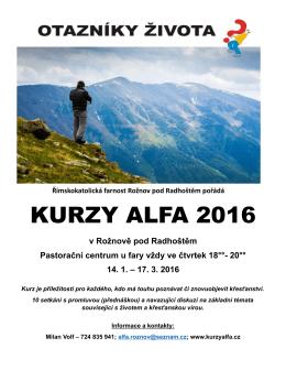 KURZY ALFA 2016 - Farnost Rožnov pod Radhoštěm