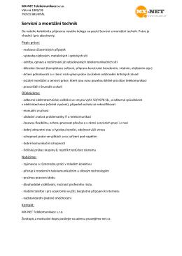 Servisní a montážní technik - MX-NET
