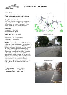 Referenční list stavby - II/380 úprava komunikace Čejč