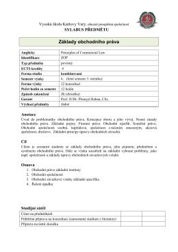 Základy obchodního práva - Vysoká škola Karlovy Vary