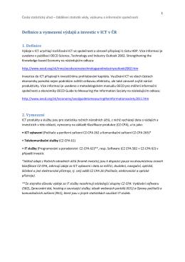 Definice a vymezení výdajů a investic v ICT v ČR