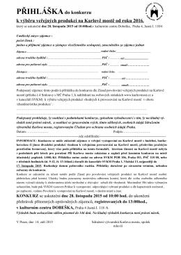 Konkurz přihláška pro rok 2016 - Sdružení výtvarníků Karlova mostu