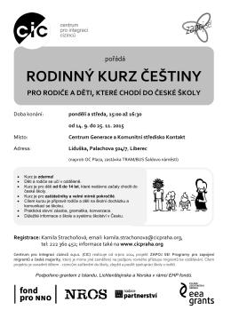 RODINNÝ KURZ ČEŠTINY - Centrum pro integraci cizinců