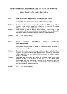 Navrhovaná témata disertačních prací pro školní rok 2015