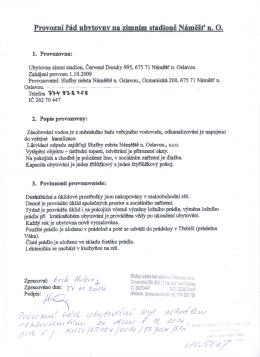 Provozni rad ubvtovnv na zimnfn i stadione NainSSf i . O.