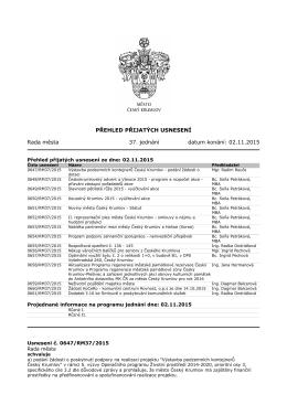 PŘEHLED PŘIJATÝCH USNESENÍ Rada města 37. jednání datum