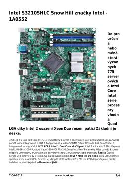 Intel S3210SHLC Snow Hill značky Intel - 1A0552 - Chcete