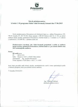 Návrh představenstva k bodu č. 10 programu řádné valné hromady