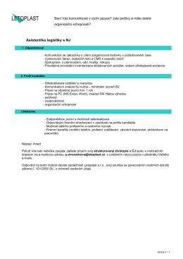 Asistent/ka logistiky s NJ