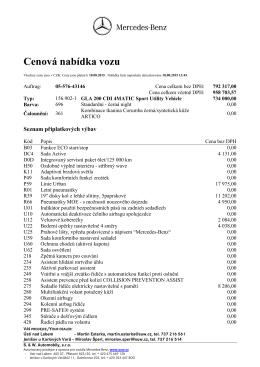 Cenová nabídka - S. & W. Automobily sro