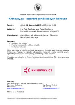 Knihovny.cz – centrální portál českých knihoven