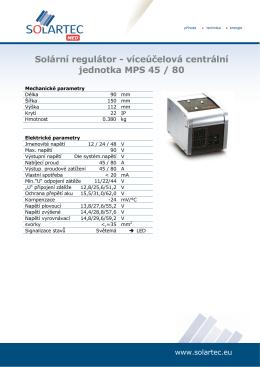 Solární regulátor - víceúčelová centrální jednotka