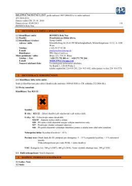 BEZPEČNOSTNÍ LIST podle nařízení 1907/2006/ES a ve znění