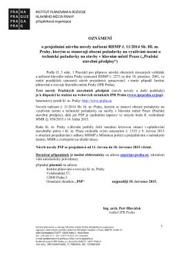 OZNÁMENÍ o projednání návrhu novely nařízení RHMP č