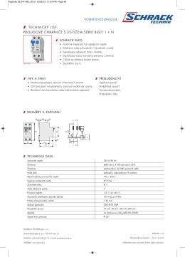 technický list: proudové chrániče s jističem série bolf 1 + n