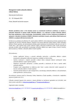 Program konference - Národní technické muzeum