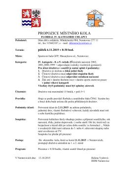 Propozice IV. kat. místní kolo - Dům dětí a mládeže Neratovice