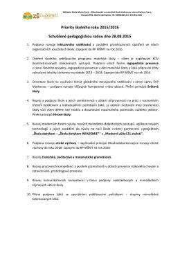 Priority školního roku - ZŠ MC Sklodowské a Mateřská škola Jáchymov